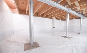Crawl space structural support jacks installed in Sanborn