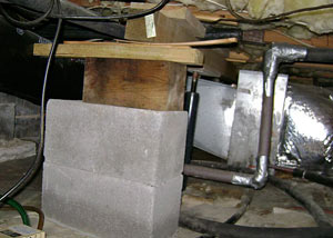 a poorly designed crawl space support system installed in a Getzville home