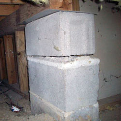 Collapsing crawl space support pillars Newfane