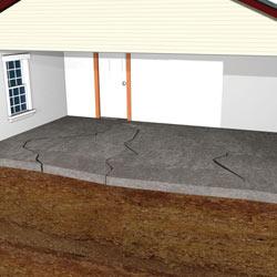 Illustration of a sinking concrete slab floor
