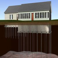 diagram of foundation helical piers stabilizing a ranch house foundation.
