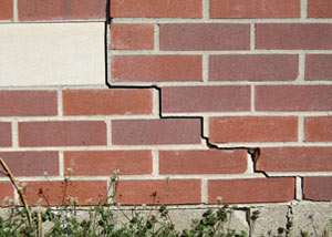 a foundation wall crack on a Newfane home.