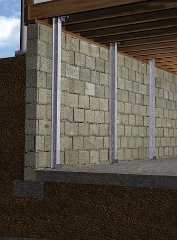 foundation wall I-beam system installation illustration