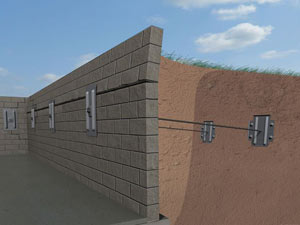 A graphic illustration of a foundation wall system installed in Springville