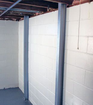 A PowerBrace™ i-beam foundation wall repair system in Buffalo