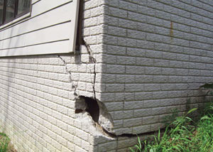 A severely damaged foundation wall in Grand Island