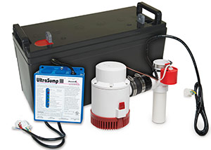 a battery backup sump pump system in Alden