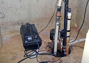 Pedestal sump pump system installed in a home in Getzville