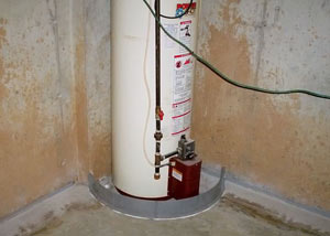 A water heater in Akron that's been protected by the FloodRing® and a perimeter drain system.
