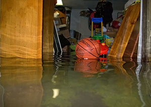 A flooded basement bedroom in Arcade